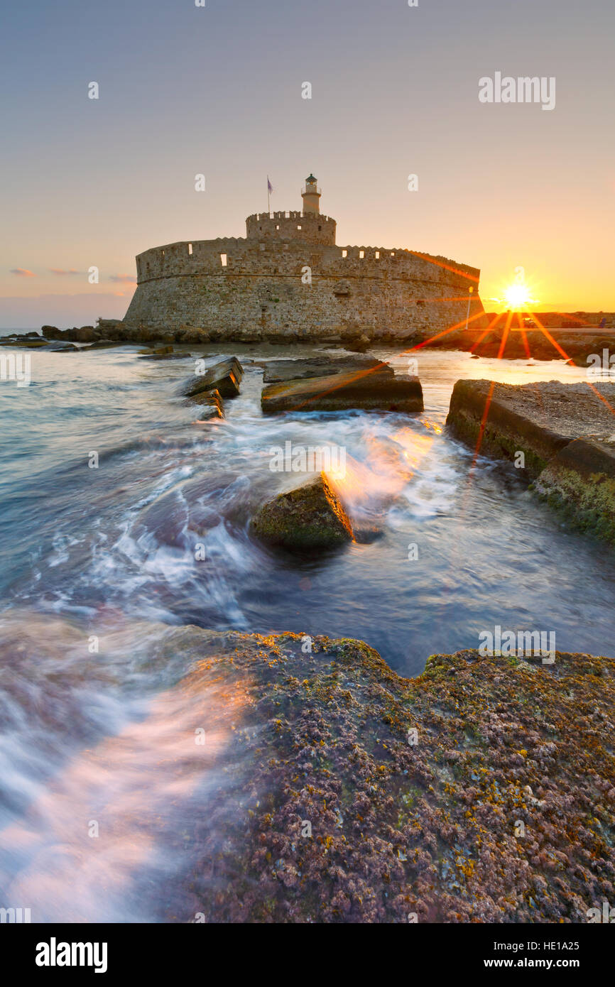 Fort of St. Nicholas in town of Rhodes early in the morning. - Stock Image