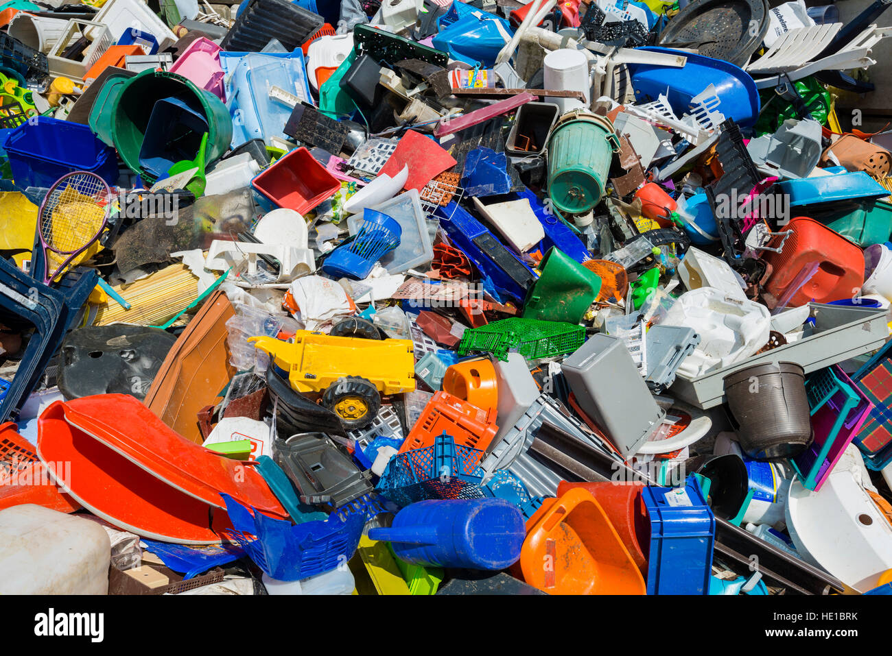 Colourful rubbish, plastic waste sorted for recycling - Stock Image