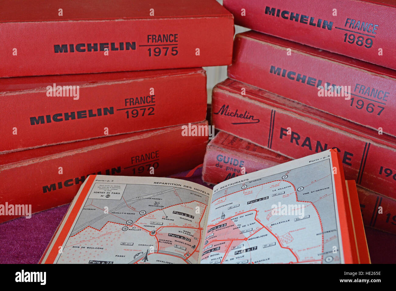 old Michelin red guide France french Stock Photo