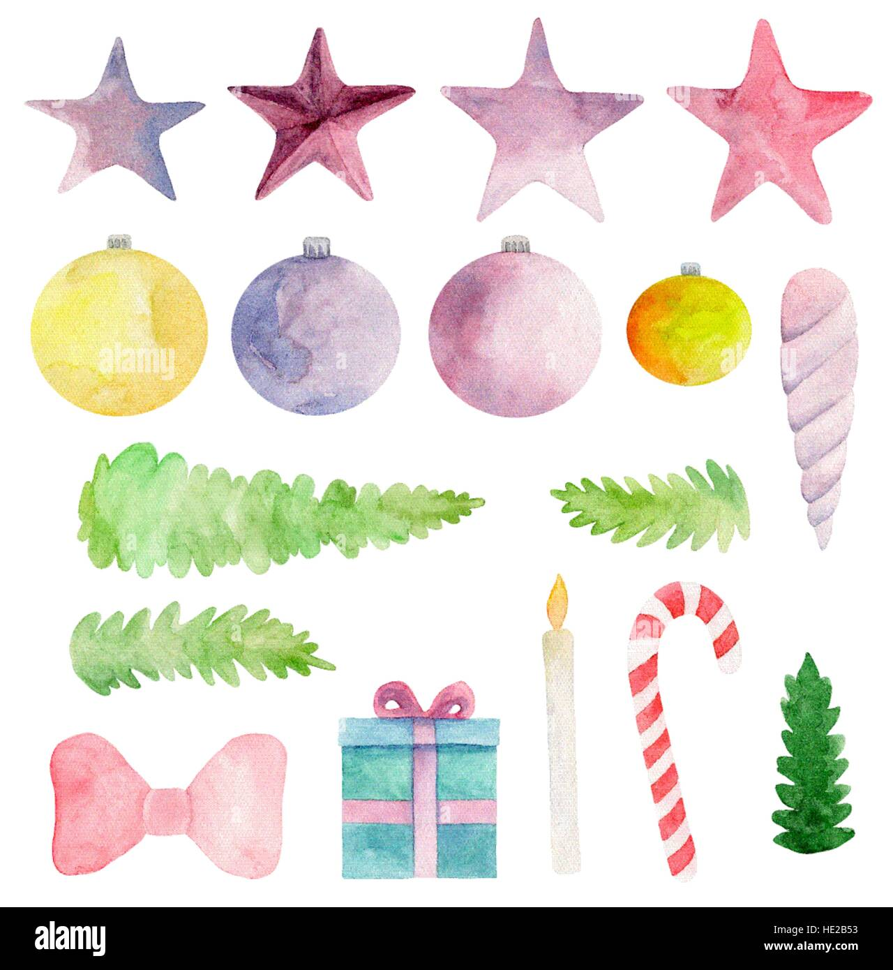 watercolor christmas vector clip art new year clipart winter holiday set xmas
