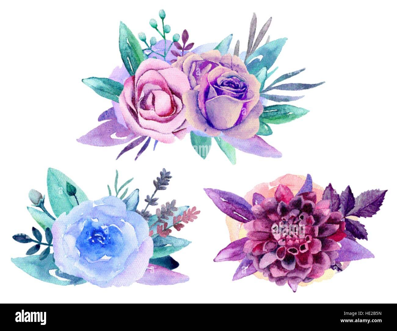 Purple floral bouquet vector clip art. Blue watercolor flowers Stock ...