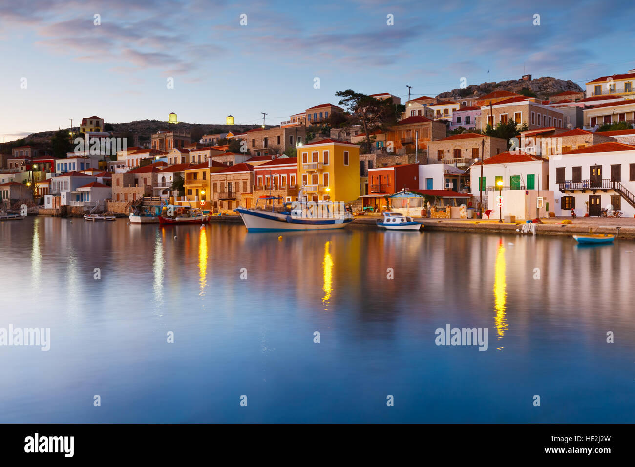 View of Halki village and its harbor, Greece. - Stock Image