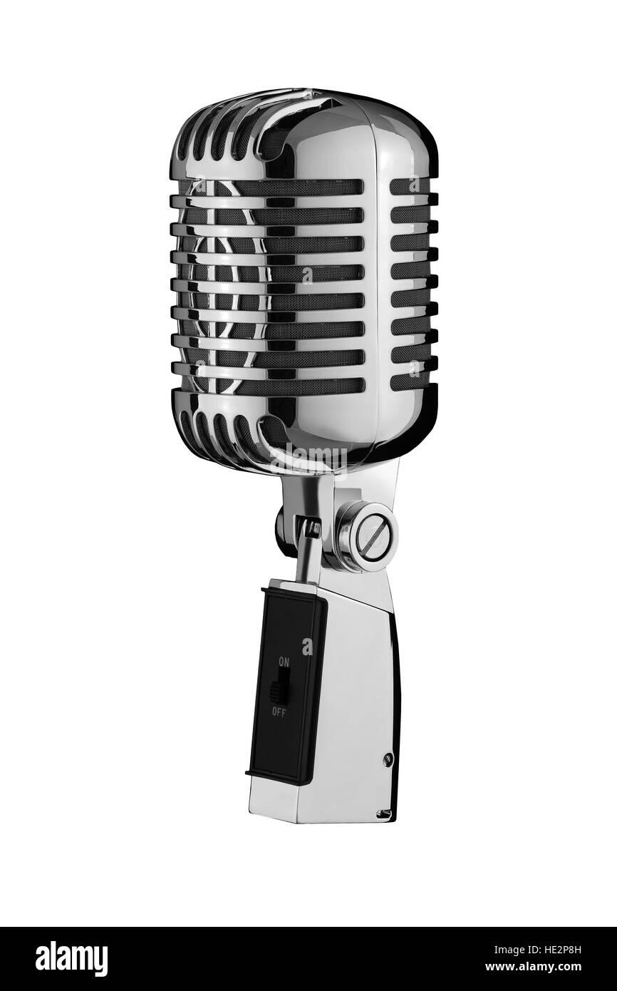 Retro Microphone isolate on background - Stock Image