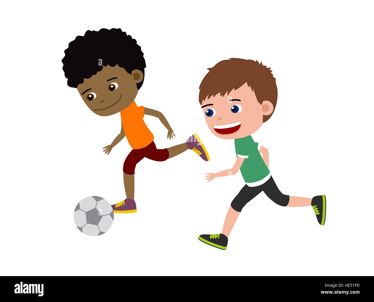 Football Boys Cartoon Illustration Of Two Kids Playing