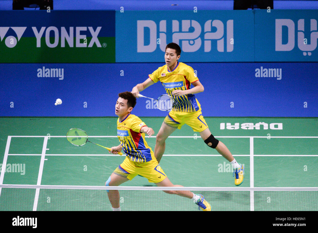 DUBAI, UAE, 18th Dec 2016. Malaysia's Goh V Shem and Tan Wee Kiong in action against Japan's Takeshi Kamura and - Stock Image