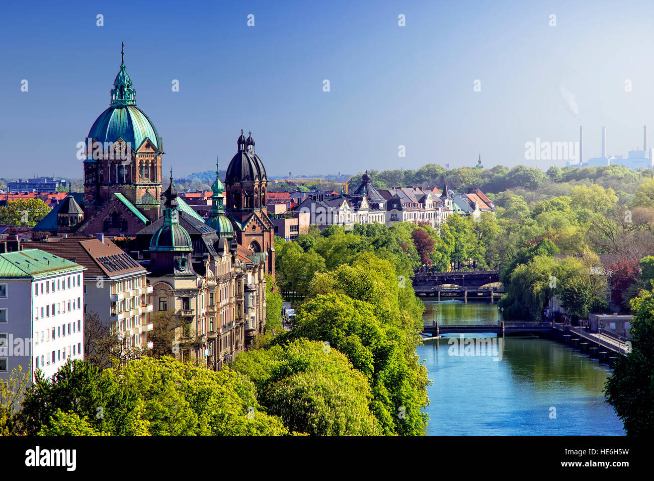 Munich skyline and Isar river - Stock Image