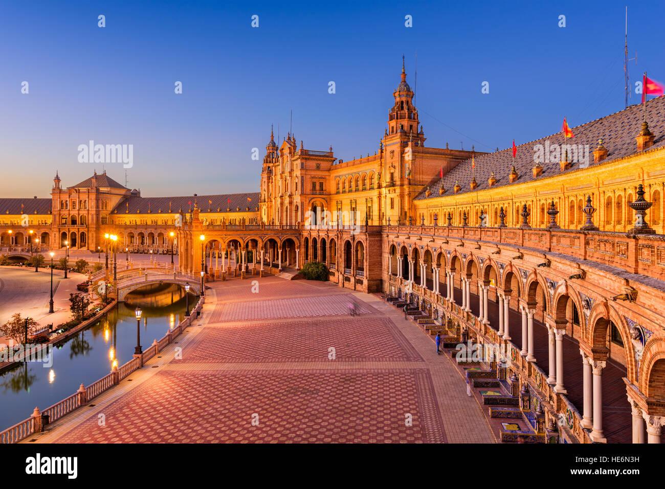 Seville, Spain at Spanish Square. - Stock Image