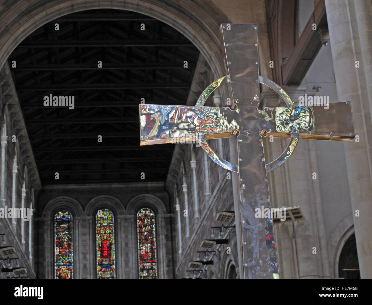 Inside,architecture,building,stone,arch,holy,St Annes,Belfast Cathedral,saint,Annes,silver cross,with,reflections,GoTonySmith,@HotpixUK,Tony,Smith,UK,GB,Great,Britain,United,Kingdom,Irish,British,Ireland,problem,with,problem with,issue with,NI,Northern,Northern Ireland,Belfast,City,Centre,Art,Artists,the,troubles,The Troubles,Good Friday Agreement,Peace,honour,painting,wall,walls,tribute,republicanism,Fight,Justice,West,Beal,feirste,martyrs,social,tour,tourism,tourists,urban,six,counties,6,backdrop,county,Antrim,Quarter,Buy Pictures of,Buy Images Of,Images of,Stock Images,Tony Smith,United Kingdom,Great Britain,British Isles