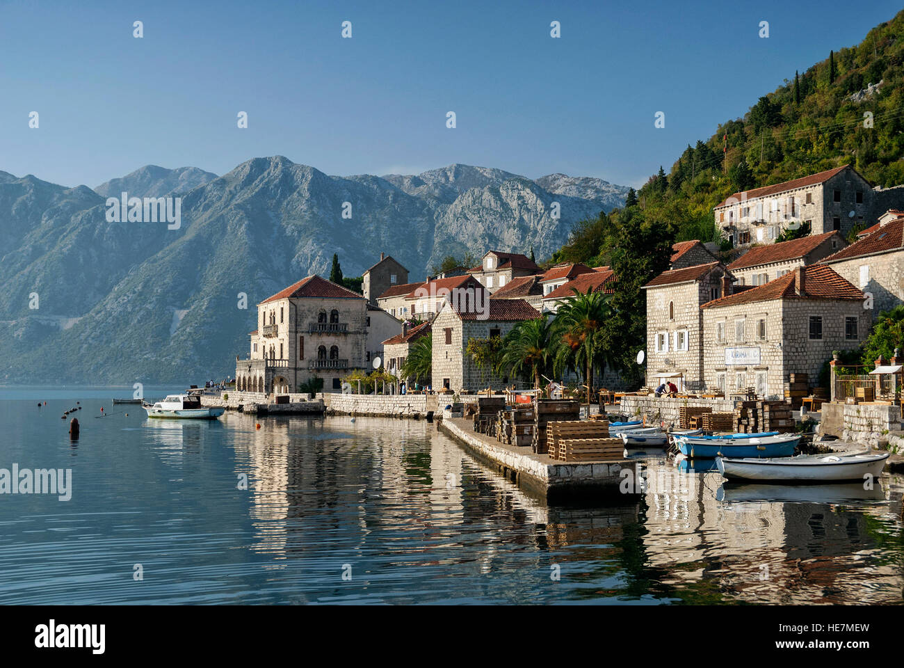 perast traditional balkan village mountain landscape by kotor bay in montenegro Stock Photo