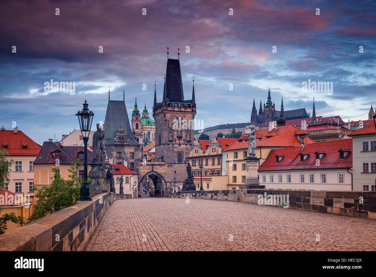 Charles Bridge, Prague. Cityscape image of Charles Bridge in Prague, Czech Republic during sunrise. - Stock Image