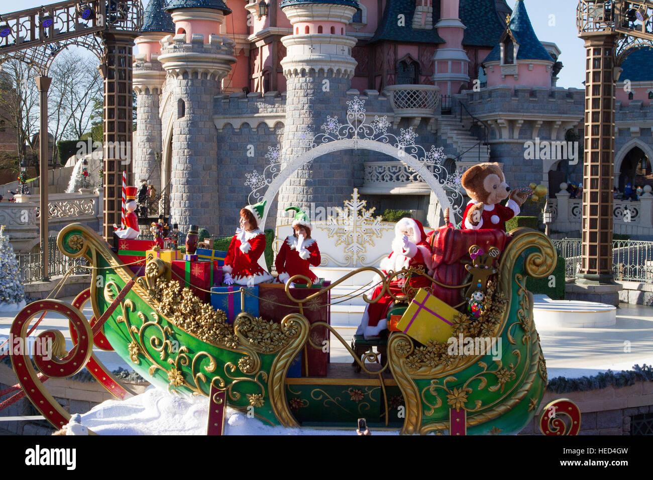 Christmas parade at Disneyland Paris Marne La Vallee France Stock Photo