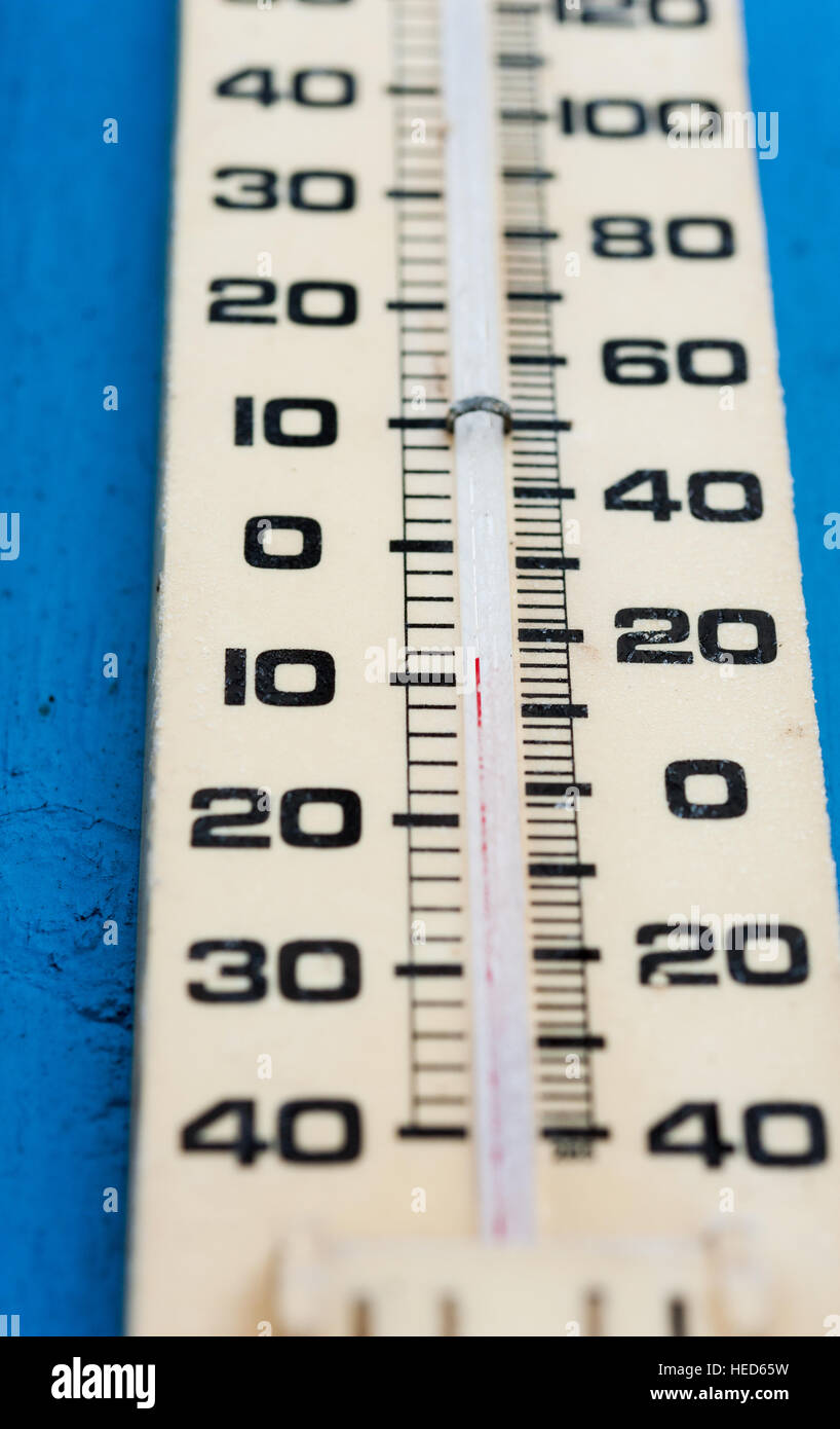 Outdoor Mercury Thermometer Showing Between Minus Nine And Ten Degrees Celsius Or Fifdegrees Fahrenheit
