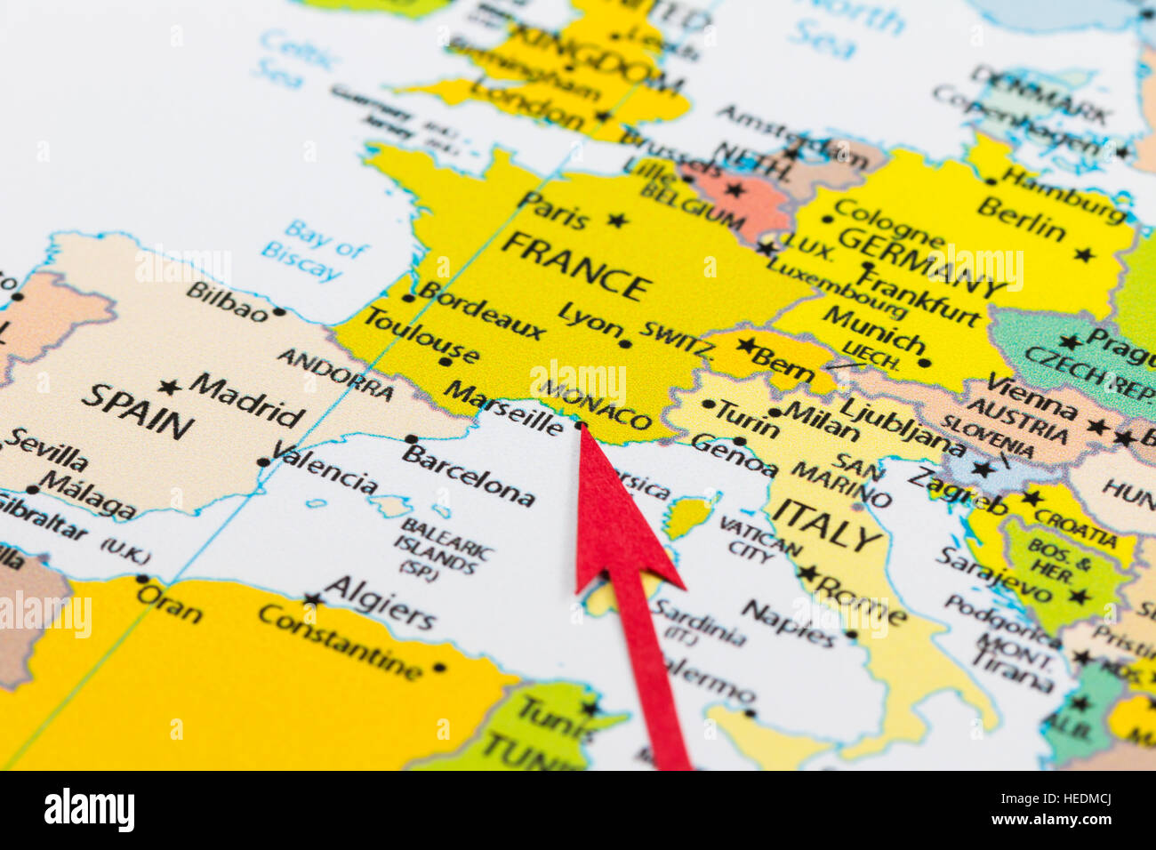 Red arrow pointing Monaco on the map of Europe continent Stock Photo