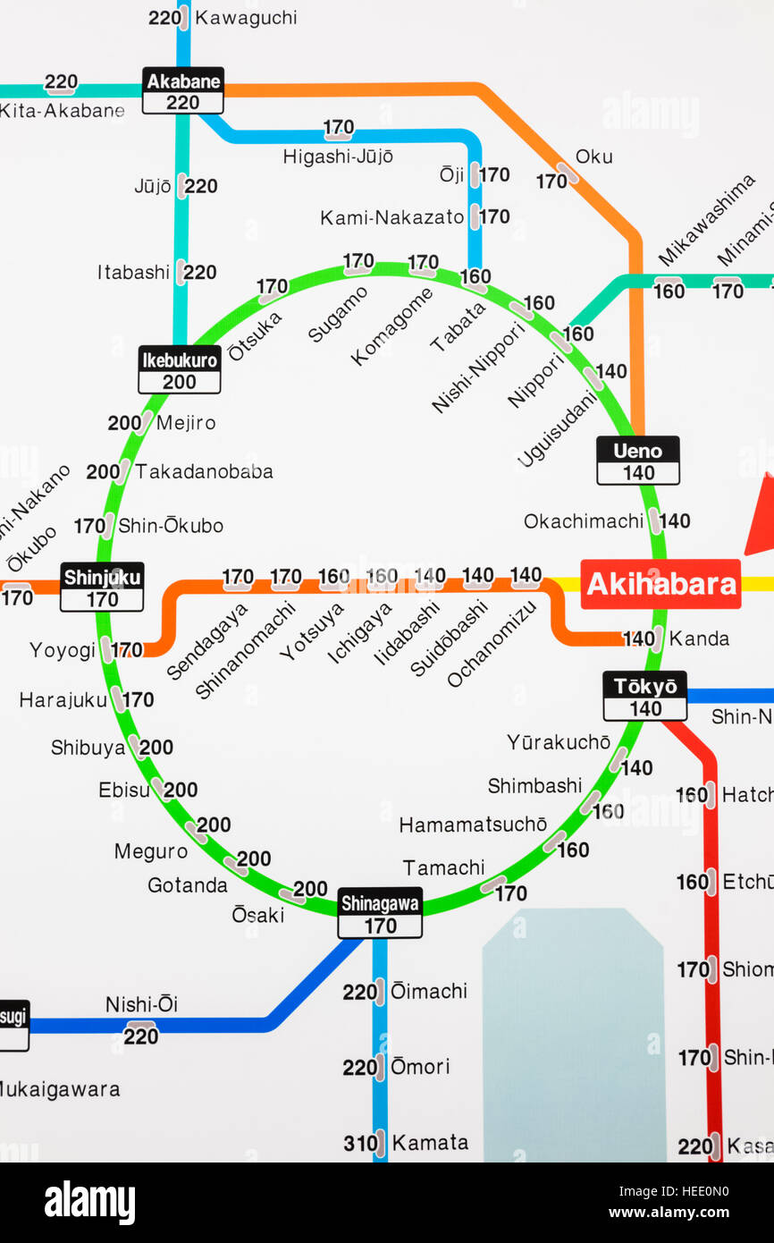 Japan Honshu Tokyo Akihabara Station Train Network Map showing
