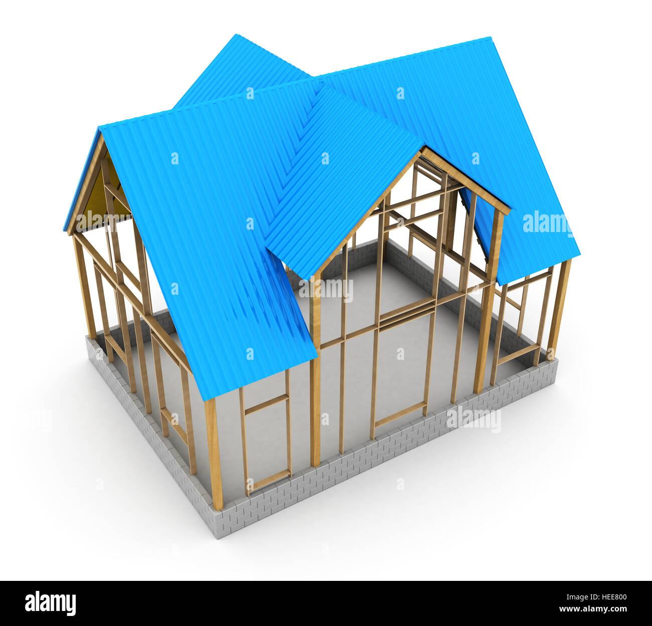 3d Illustration Of Frame House Construction, Blue Metal Roof