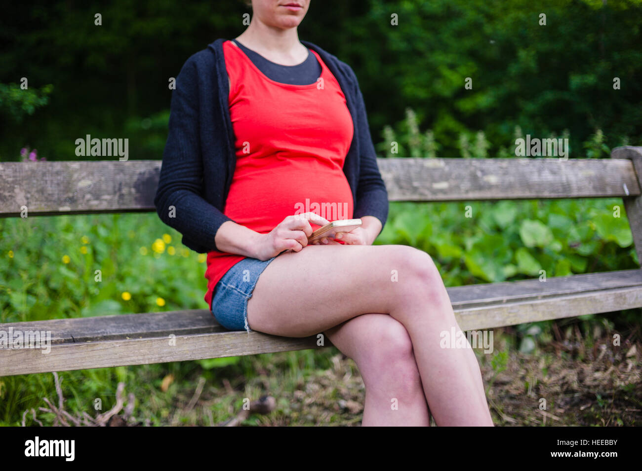 A young pregnant woman is sitting on a bench in the woods on a sunny day and is using her smart phone - Stock Image