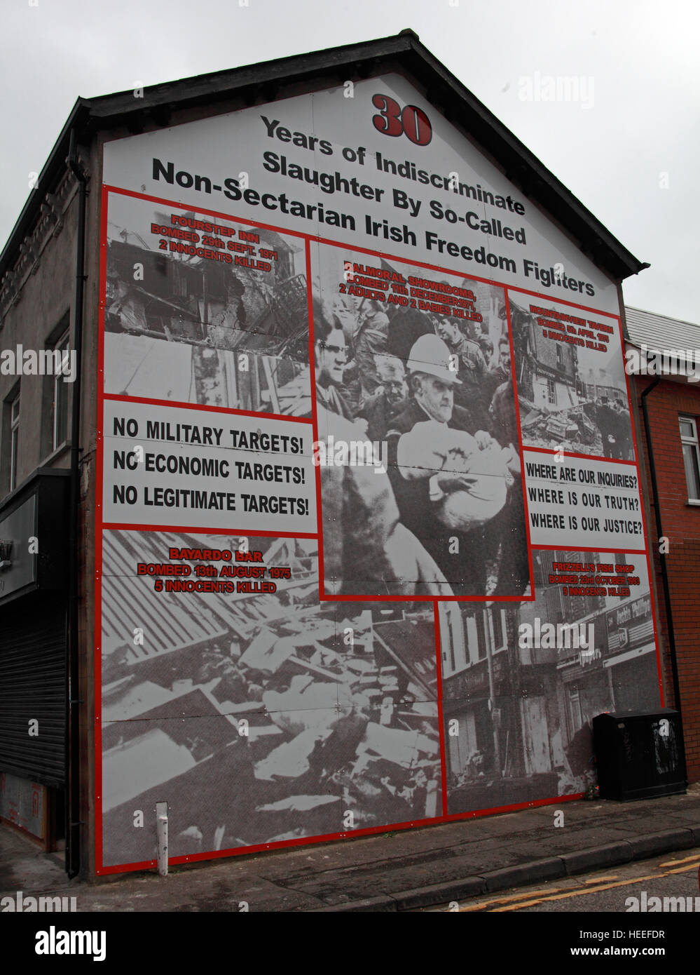 Mural,art,British,Union,wall,walls,gable end,gable,end,Northern,Irish,Republican,violence,para,military,paramilitary,fallen,Martyrs,martyr,street,rd,road,painting,painted,symbolism,Loyalist,culture,history,community,Bar,Aberdeen St,attack,slaughter,by,IRA,Brendan,McFarlane,orange,GoTonySmith,@HotpixUK,Tony,Smith,UK,GB,Great,Britain,United,Kingdom,Irish,British,Ireland,problem,with,problem with,issue with,NI,Northern,Northern Ireland,Belfast,City,Centre,Art,Artists,the,troubles,The Troubles,Good Friday Agreement,Peace,honour,painting,wall,walls,tribute,republicanism,Fight,Justice,West,Beal,feirste,martyrs,social,tour,tourism,tourists,urban,six,counties,6,backdrop,county,Antrim,Shankill,Rd,Road,Royal,Royalist,Loyalist,Belfast streets,Buy Pictures of,Buy Images Of,Images of,Stock Images,Tony Smith,United Kingdom,Great Britain,British Isles