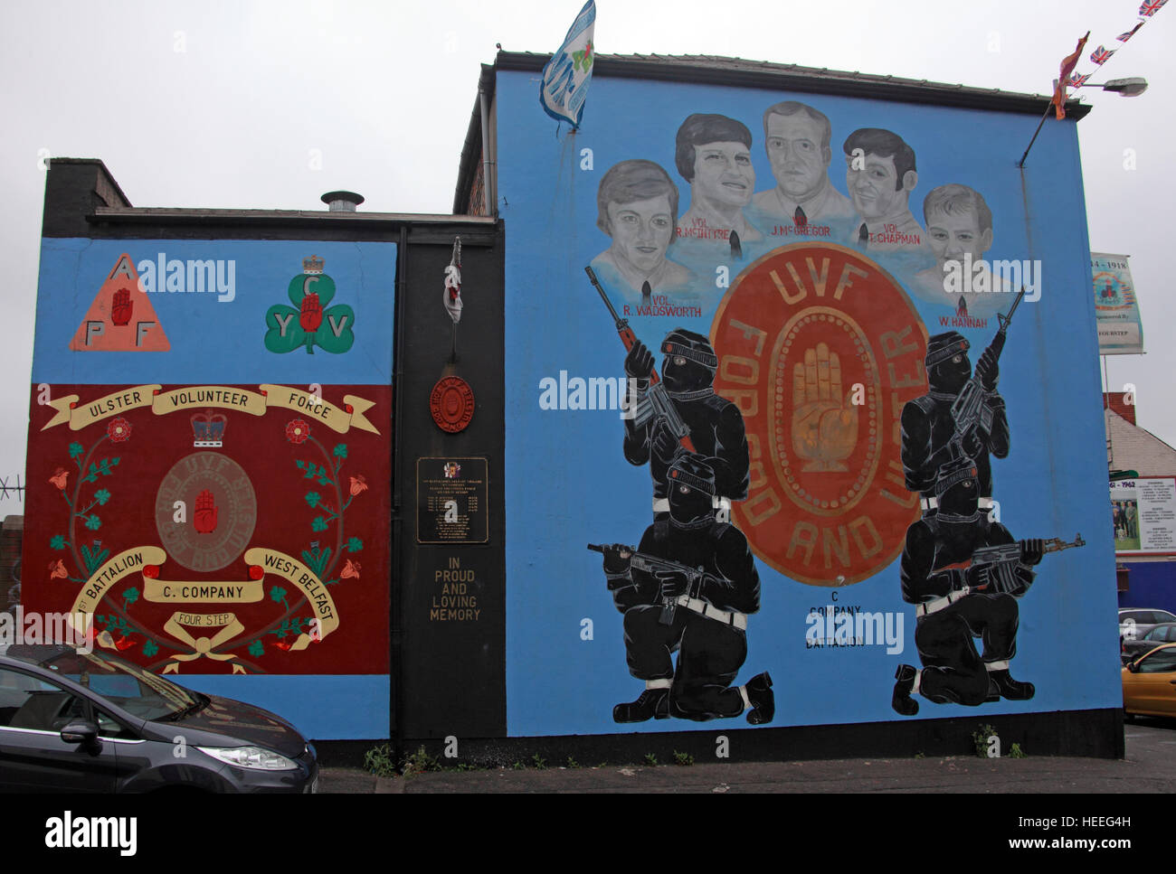 Mural,art,British,Union,wall,walls,gable end,gable,end,Northern,Irish,Republican,violence,para,military,paramilitary,fallen,Martyrs,martyr,street,rd,road,painting,painted,symbolism,Loyalist,culture,history,community,C-Company,1st Battalion Wadsworth,McIntyre,McGregor,Chapman,Hannah,GoTonySmith,@HotpixUK,Tony,Smith,UK,GB,Great,Britain,United,Kingdom,Irish,British,Ireland,problem,with,problem with,issue with,NI,Northern,Northern Ireland,Belfast,City,Centre,Art,Artists,the,troubles,The Troubles,Good Friday Agreement,Peace,honour,painting,wall,walls,tribute,republicanism,Fight,Justice,West,Beal,feirste,martyrs,social,tour,tourism,tourists,urban,six,counties,6,backdrop,county,Antrim,Belfast streets,Buy Pictures of,Buy Images Of,Images of,Stock Images,Tony Smith,United Kingdom,Great Britain,British Isles