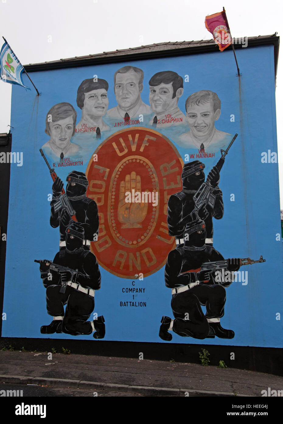 Mural,art,British,Union,wall,walls,gable end,gable,end,Northern,Irish,Republican,violence,para,military,paramilitary,fallen,Martyrs,martyr,street,rd,road,painting,painted,symbolism,Loyalist,culture,history,community,c,C-Company,1st,Battalion,Wadsworth,McIntyre,McGregor,Chapman,Hannah,blue,GoTonySmith,@HotpixUK,Tony,Smith,UK,GB,Great,Britain,United,Kingdom,Irish,British,Ireland,problem,with,problem with,issue with,NI,Northern,Northern Ireland,Belfast,City,Centre,Art,Artists,the,troubles,The Troubles,Good Friday Agreement,Peace,honour,painting,wall,walls,tribute,republicanism,Fight,Justice,West,Beal,feirste,martyrs,social,tour,tourism,tourists,urban,six,counties,6,backdrop,county,Antrim,hidden,faces,Belfast streets,Buy Pictures of,Buy Images Of,Images of,Stock Images,Tony Smith,United Kingdom,Great Britain,British Isles