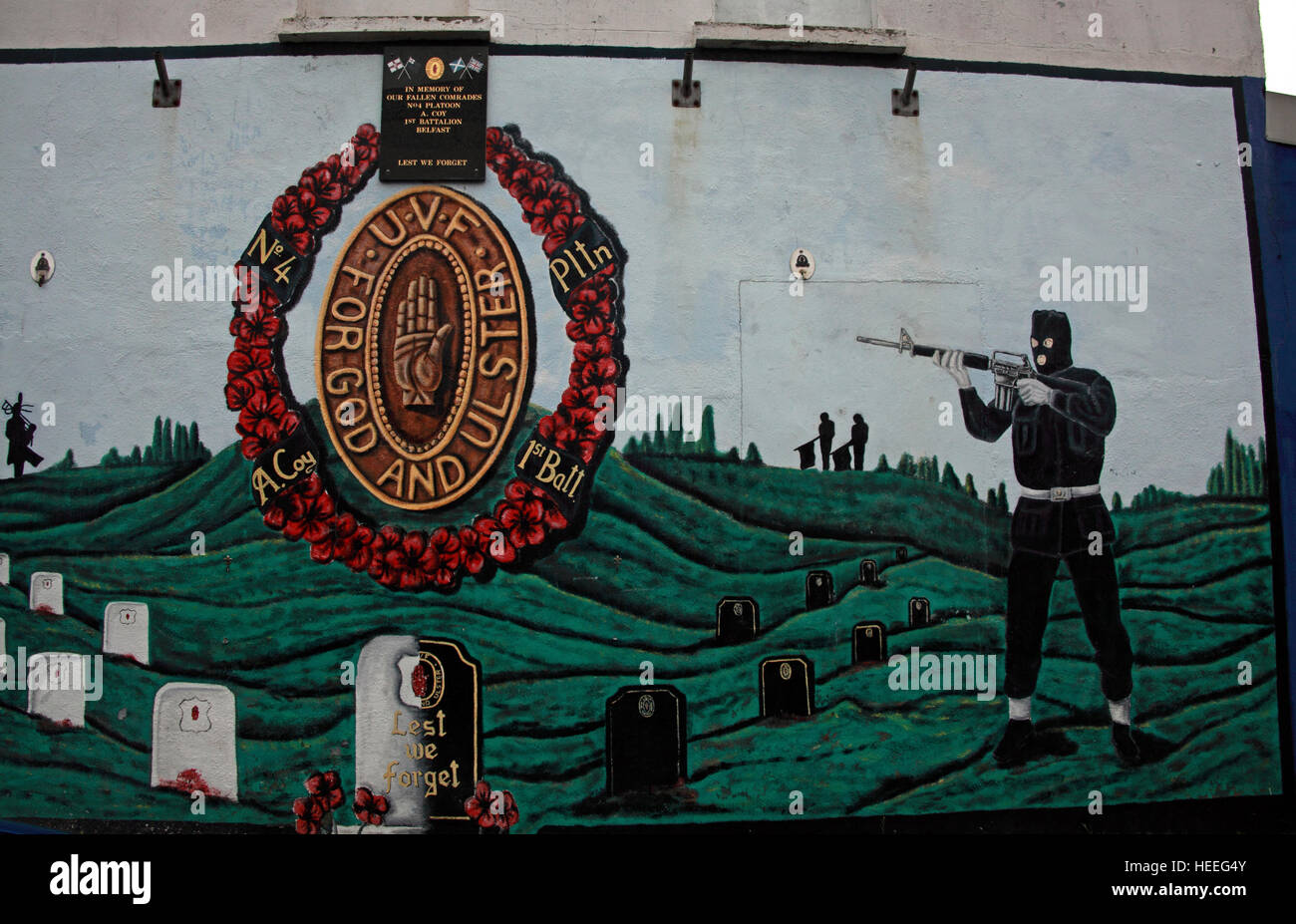 Mural,art,British,Union,wall,walls,gable end,gable,end,Northern,Irish,Republican,violence,para,military,paramilitary,fallen,Martyrs,martyr,street,rd,road,painting,painted,symbolism,Loyalist,culture,history,community,soldier,pointing,rifle,sniper,God,and,Ulster,in,graveyard,poppy,poppies,GoTonySmith,@HotpixUK,Tony,Smith,UK,GB,Great,Britain,United,Kingdom,Irish,British,Ireland,problem,with,problem with,issue with,NI,Northern,Northern Ireland,Belfast,City,Centre,Art,Artists,the,troubles,The Troubles,Good Friday Agreement,Peace,honour,painting,wall,walls,tribute,republicanism,Fight,Justice,West,Beal,feirste,martyrs,social,tour,tourism,tourists,urban,six,counties,6,backdrop,county,Antrim,For God and Ulster,For God & Ulster,Belfast streets,Buy Pictures of,Buy Images Of,Images of,Stock Images,Tony Smith,United Kingdom,Great Britain,British Isles
