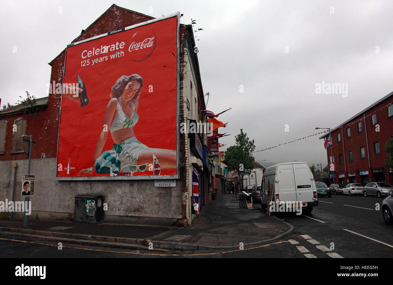 Mural,art,British,Union,wall,walls,gable end,gable,end,Northern,Irish,Republican,violence,para,military,paramilitary,fallen,Martyrs,martyr,street,rd,road,painting,painted,symbolism,Loyalist,culture,history,community,Ave,CocaCola,Lawnbrook,Avenue,GoTonySmith,@HotpixUK,Tony,Smith,UK,GB,Great,Britain,United,Kingdom,Irish,British,Ireland,problem,with,problem with,issue with,NI,Northern,Northern Ireland,Belfast,City,Centre,Art,Artists,the,troubles,The Troubles,Good Friday Agreement,Peace,honour,painting,wall,walls,tribute,republicanism,Fight,Justice,West,Beal,feirste,martyrs,social,tour,tourism,tourists,urban,six,counties,6,backdrop,county,Antrim,Belfast streets,Buy Pictures of,Buy Images Of,Images of,Stock Images,Tony Smith,United Kingdom,Great Britain,British Isles