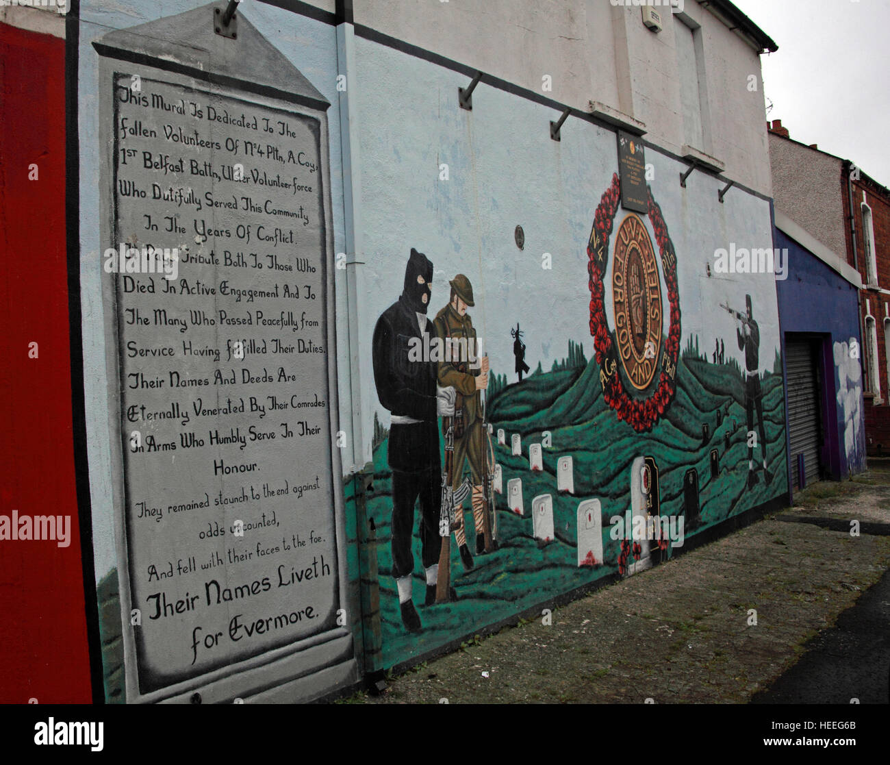 Mural,art,British,Union,wall,walls,gable end,gable,end,Northern,Irish,Republican,violence,para,military,paramilitary,fallen,Martyrs,martyr,street,rd,road,painting,painted,symbolism,Loyalist,culture,history,community,UVF Mural,four,platoon,no4,pltn,God,and,Ulster,No 4,Pltn,GoTonySmith,@HotpixUK,Tony,Smith,UK,GB,Great,Britain,United,Kingdom,Irish,British,Ireland,problem,with,problem with,issue with,NI,Northern,Northern Ireland,Belfast,City,Centre,Art,Artists,the,troubles,The Troubles,Good Friday Agreement,Peace,honour,painting,wall,walls,tribute,republicanism,Fight,Justice,West,Beal,feirste,martyrs,social,tour,tourism,tourists,urban,six,counties,6,backdrop,county,Antrim,Belfast streets,Buy Pictures of,Buy Images Of,Images of,Stock Images,Tony Smith,United Kingdom,Great Britain,British Isles