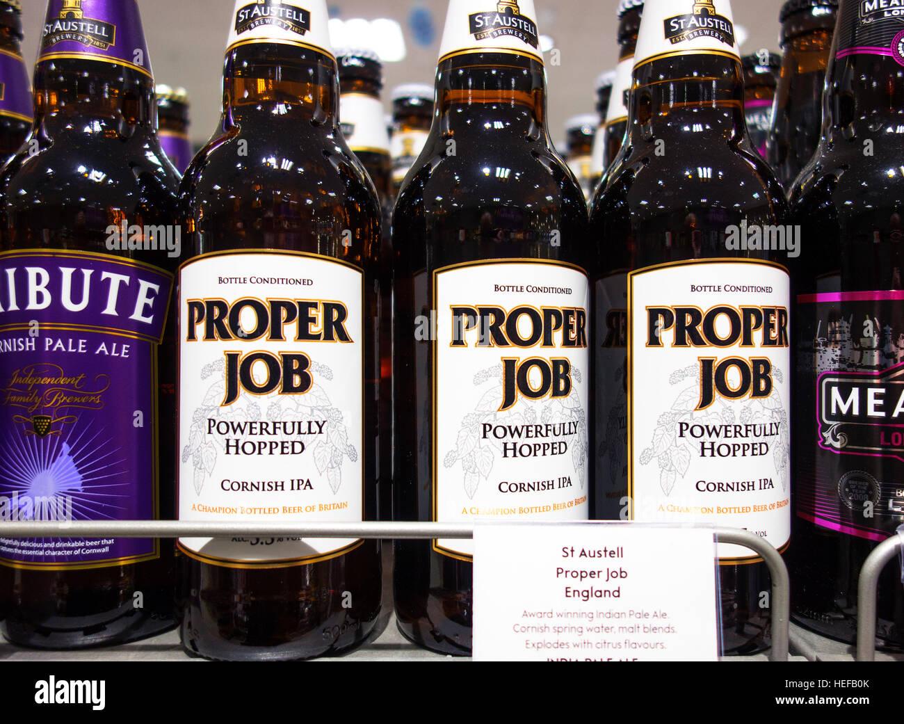 "Bottles of "" Proper Job "" Cornish Ale Stock Photo"