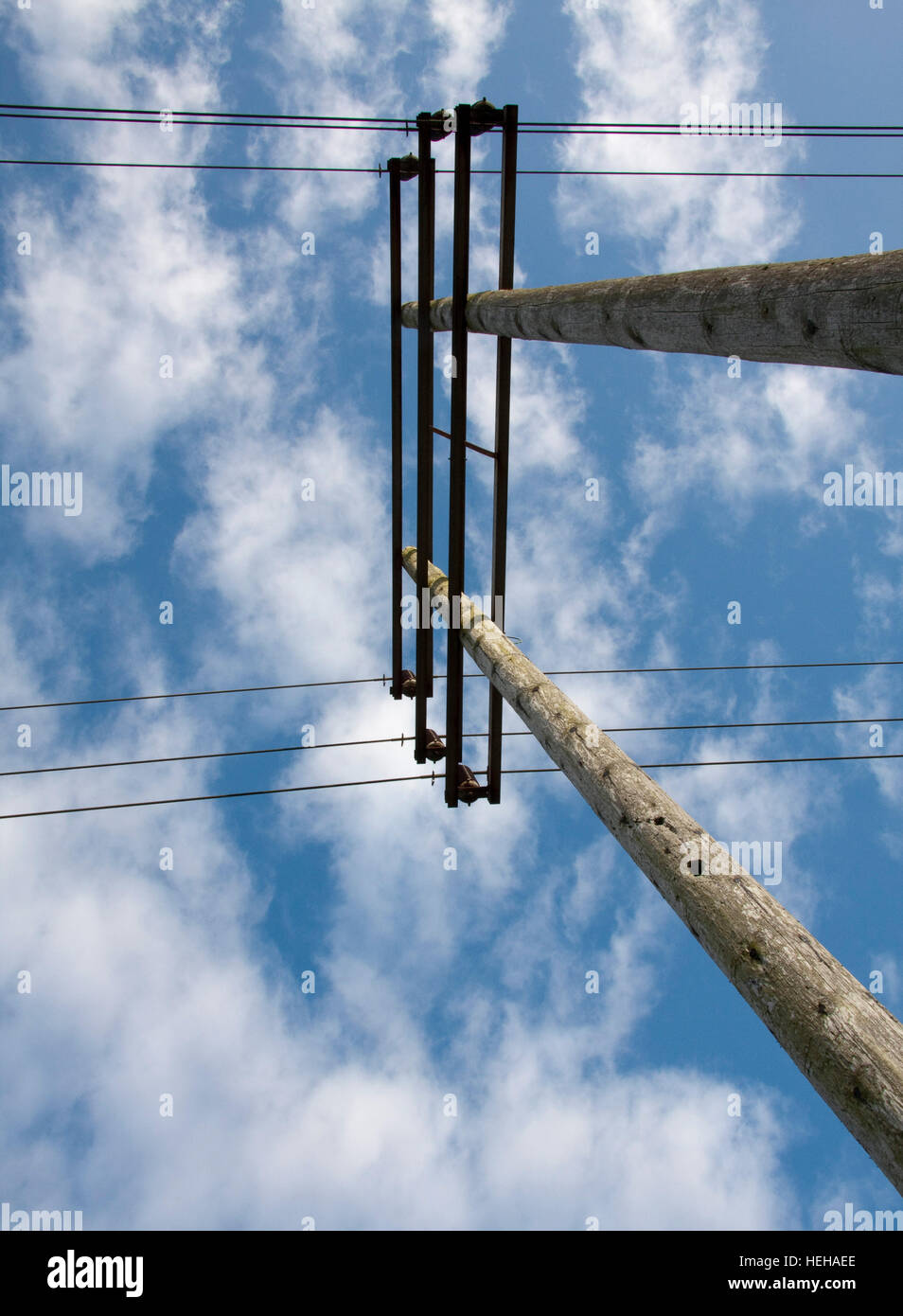 Power lines in the countryside Stock Photo