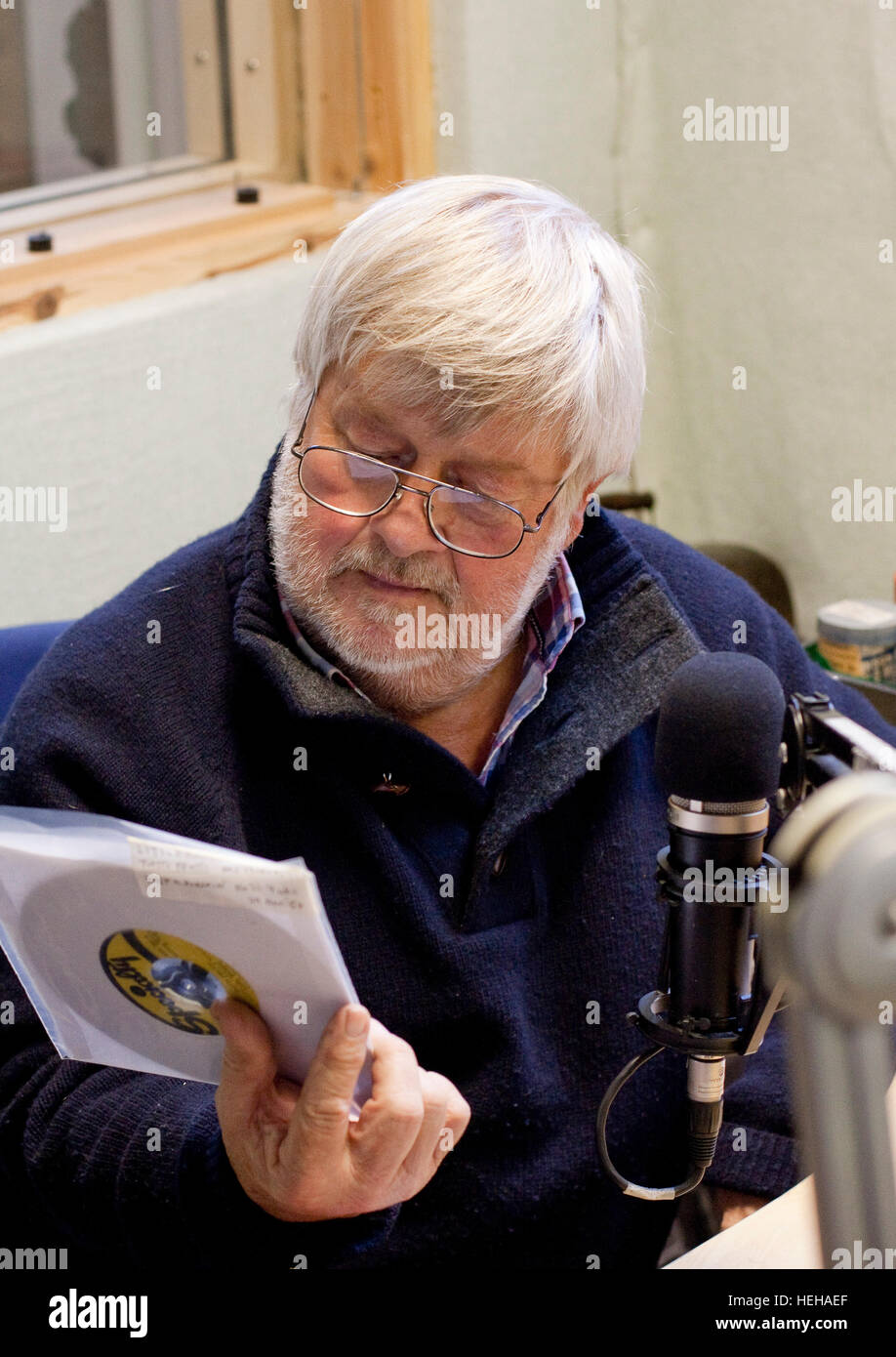 Drummer and publican John Halsey at local radio station Cambridge 105 Stock Photo
