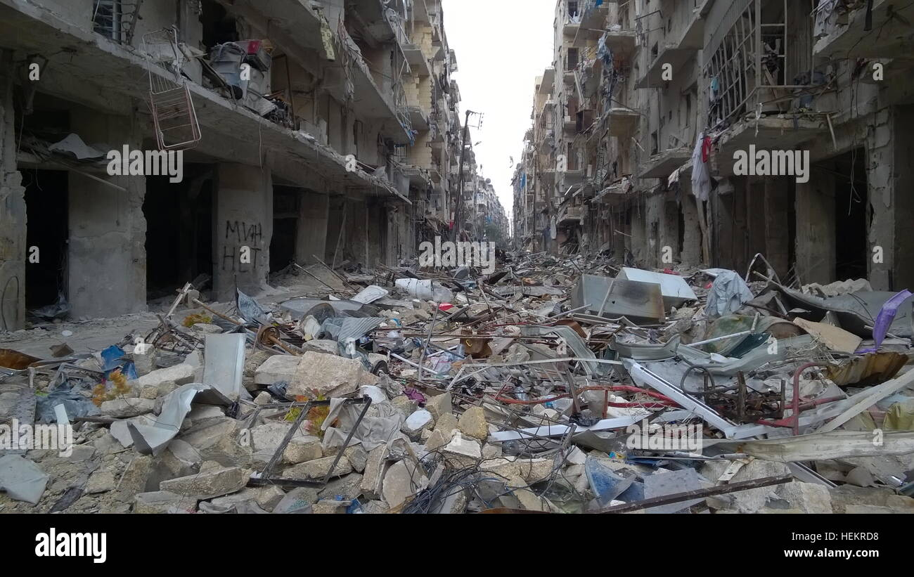 Aleppo, Syria. 23rd Dec, 2016. Kids in the neighborhood of Karm al-Miasar in the eastern part of Aleppo. Russia's Stock Photo
