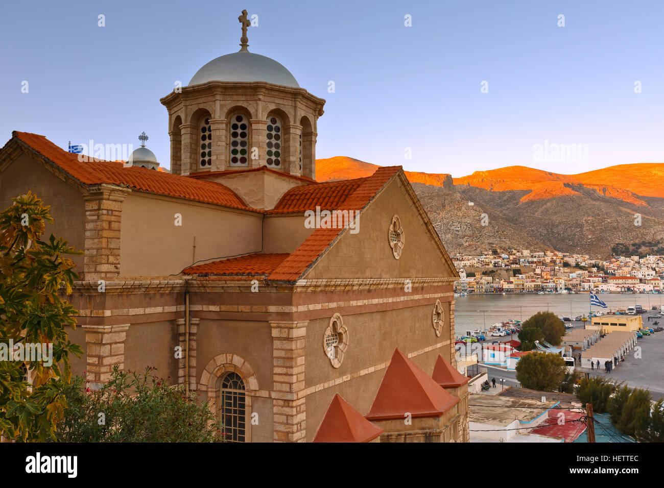 Kalymnos town on Kalymnos island in Greece. - Stock Image