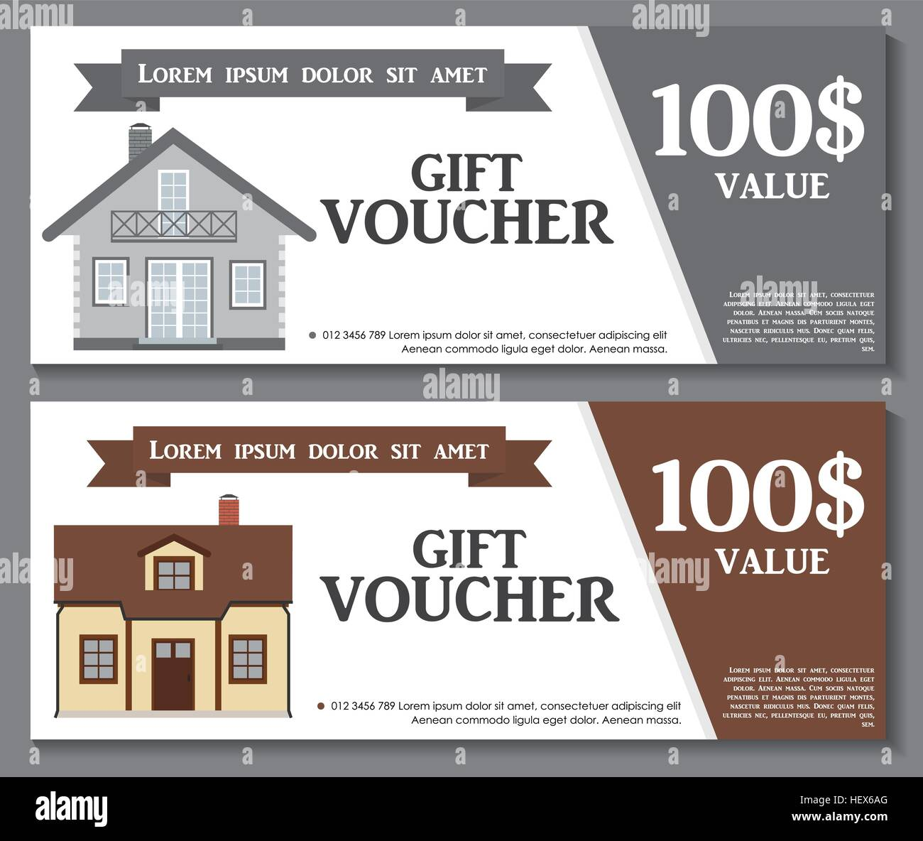 gift voucher template with variation of house discount coupon v