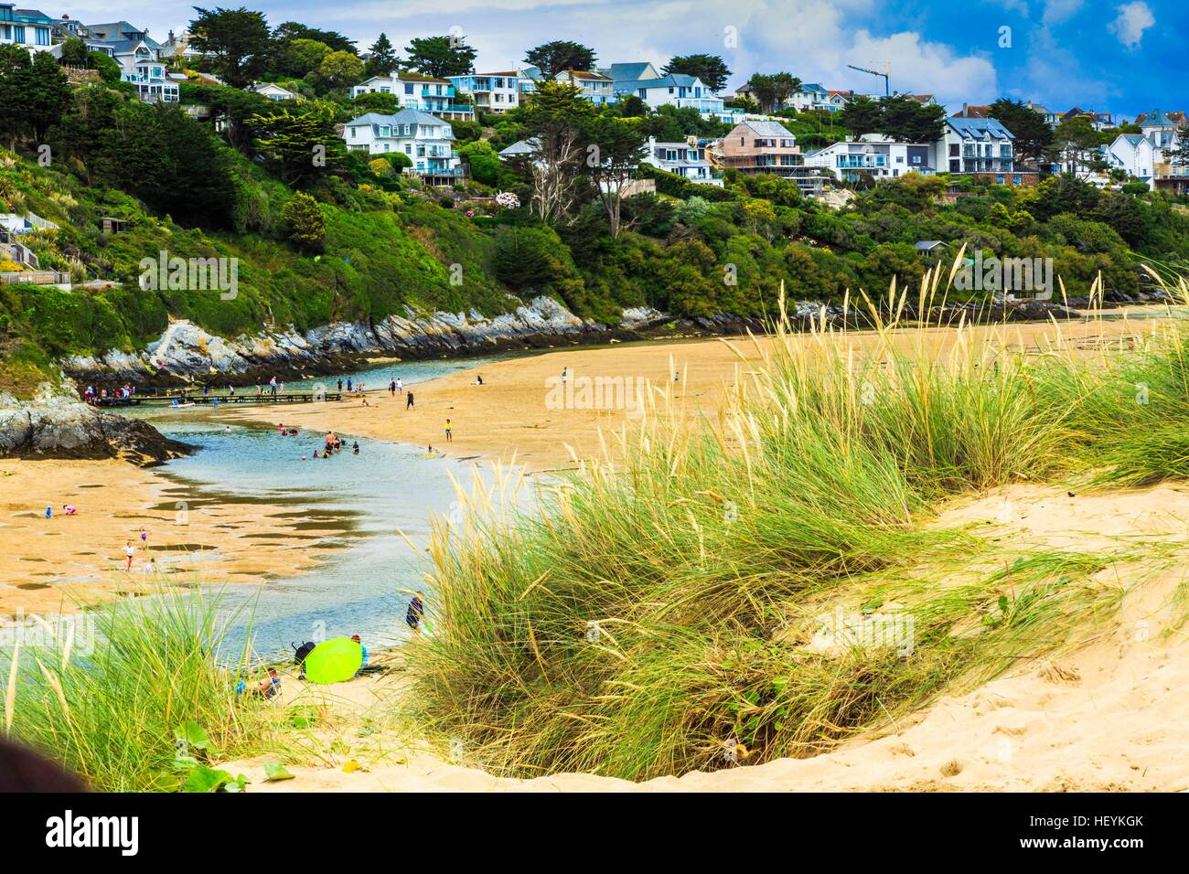 A views across the sand dunes at Crantock Beach and the Gannel River estuary in Newquay, Cornwall, UK Stock Photo
