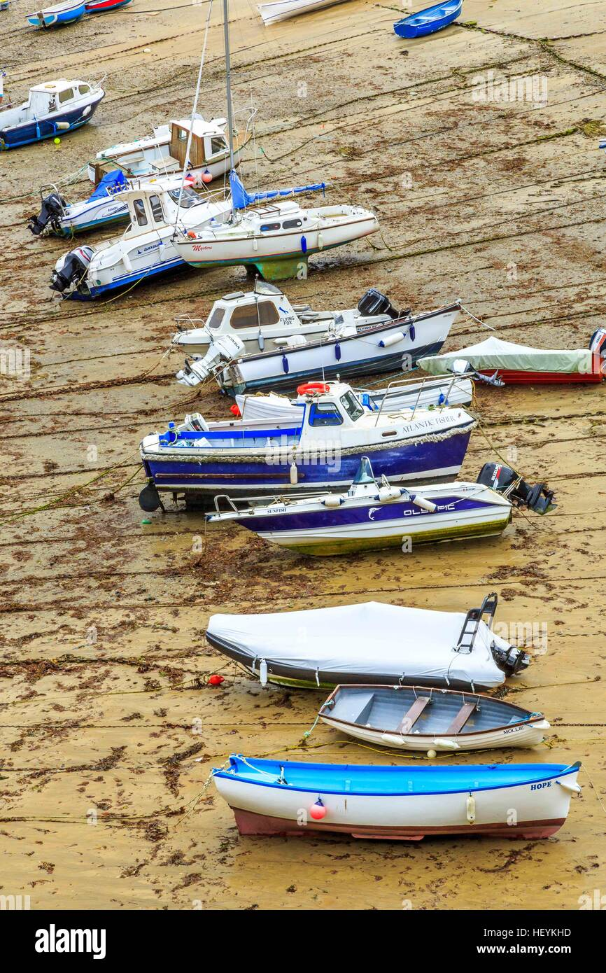 Boats in the picturesque harbour of Newquay in Cornwall, UK Stock Photo