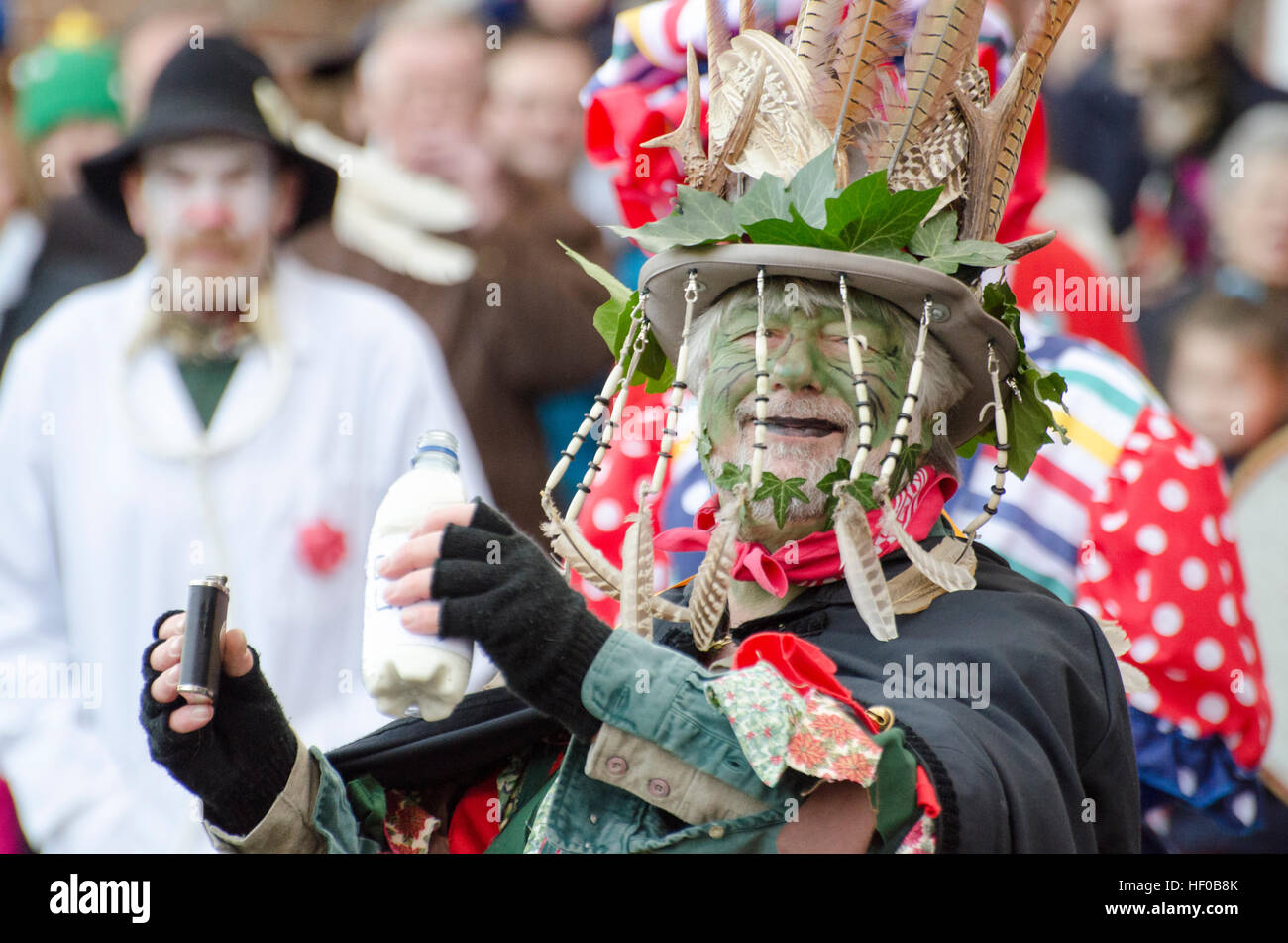 Wantage, UK. 26 Dec 2016. The character of Jack Vinney played in a traditional Mummers Folk Play performed annually Stock Photo