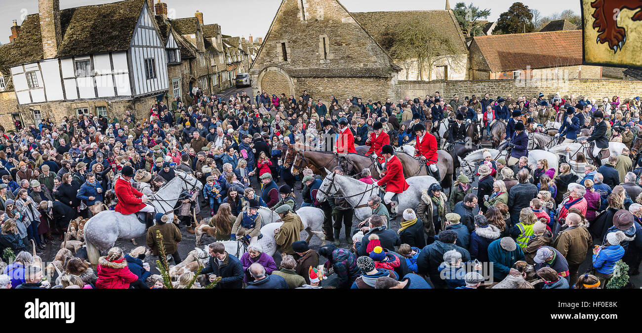 Lacock Wiltshire UK 26th December 2016. The Avon Vale Hunt annual Boxing Day meet in th historic Wiltshire VillageStock Photo