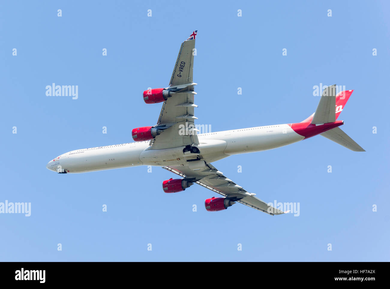 Virgin Atlantic Airbus A340-642 taking off from Heathrow Airport, Greater London, England, United Kingdom - Stock Image