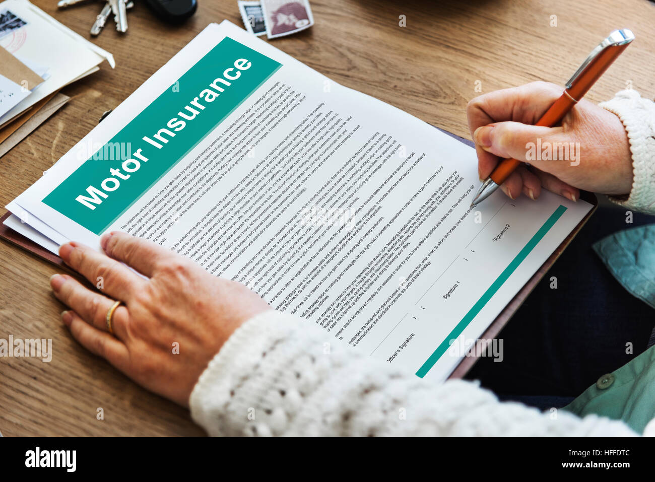 Motor Insurance Legal Claim Contract Documents Concept Stock Photo