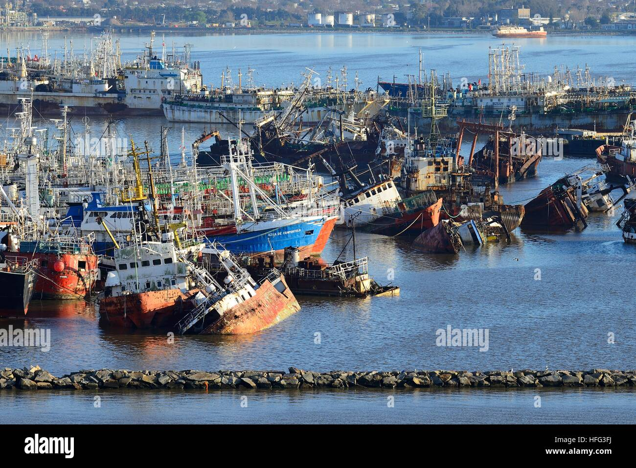 Rusted vessels in the harbor, Montevideo, Uruguay - Stock Image