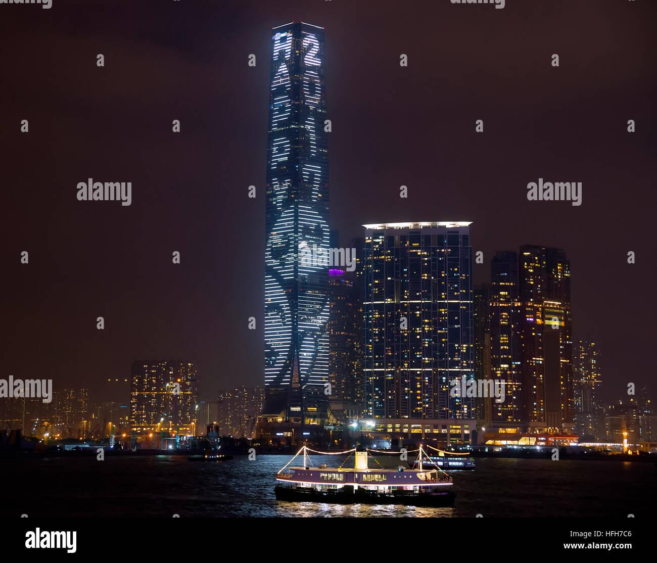 Hong Kong. 1st January, 2017. Hong Kong's tallest building, The International Commerce Center ICC lighting for - Stock Image