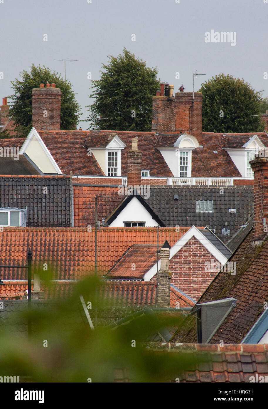 Rooftops in a Suffolk market town Stock Photo