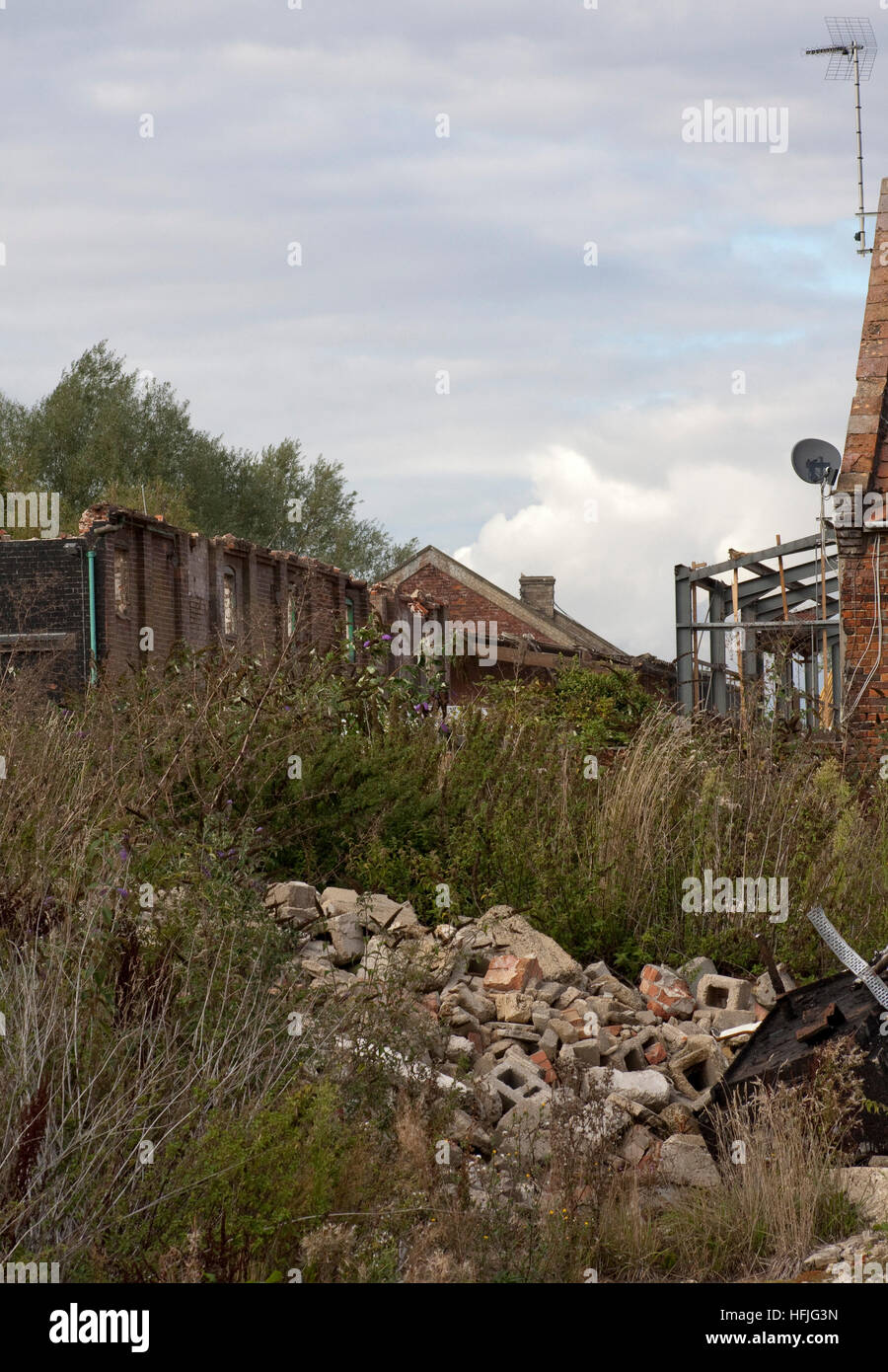 Overgrown and partially demolished industrial site Stock Photo