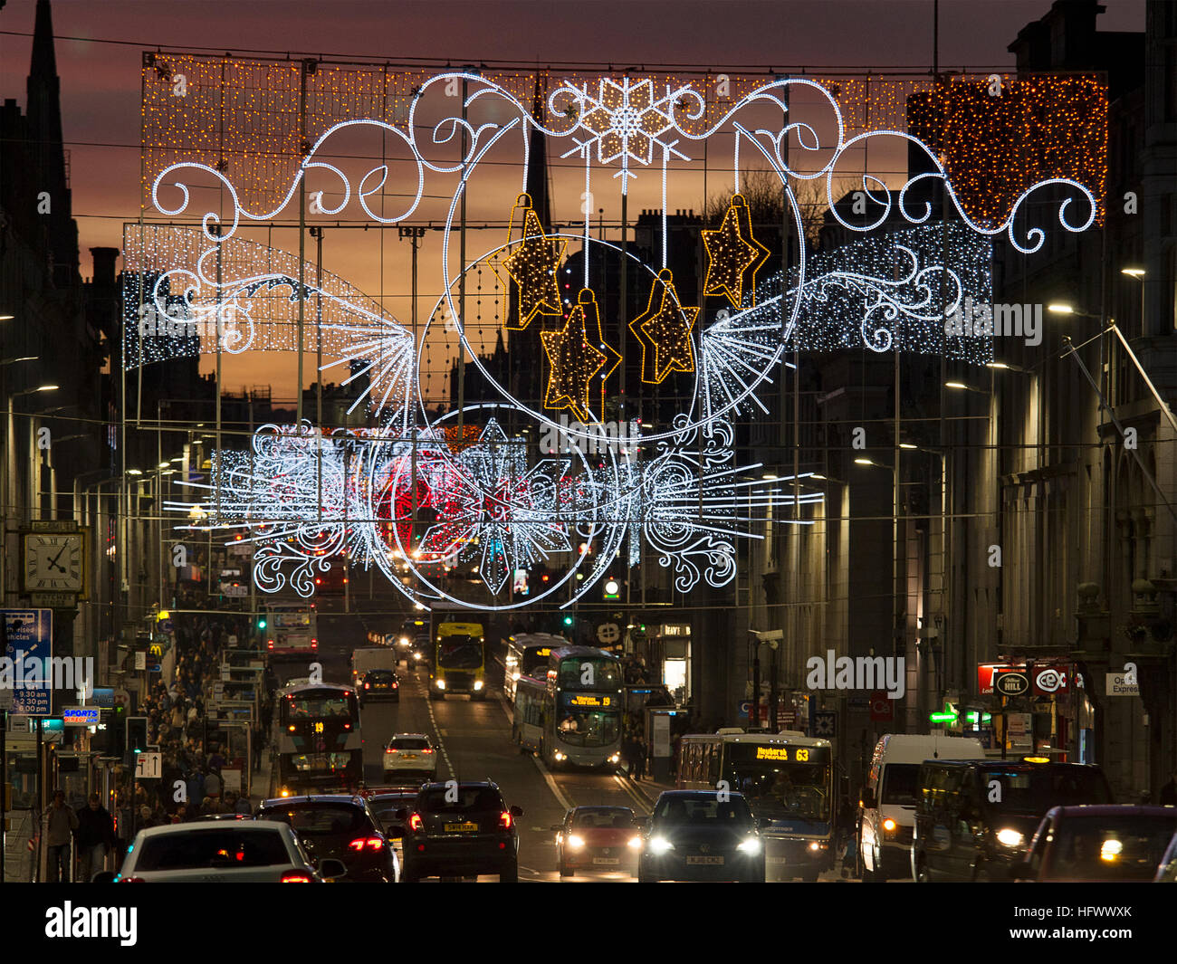 Christmas lights in Union Street, Aberdeen, during the Christmas shopping period Stock Photo