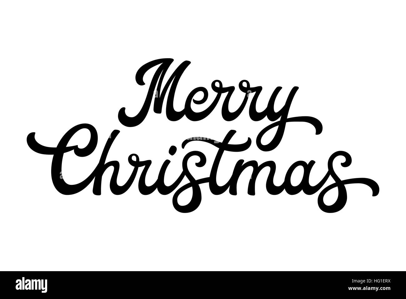 Merry Christmas brush lettering. Black letters isolated on white ...