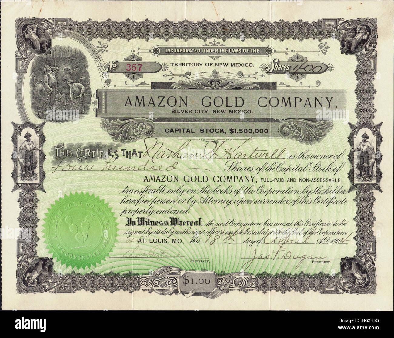 1904 Amazon Gold Company Stock Certificate Silver City New