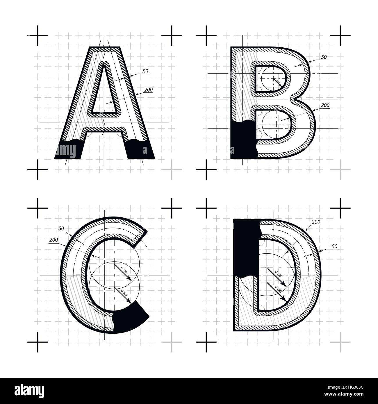 Architectural sketches of a b c d letters blueprint style font on architectural sketches of a b c d letters blueprint style font on white malvernweather Gallery