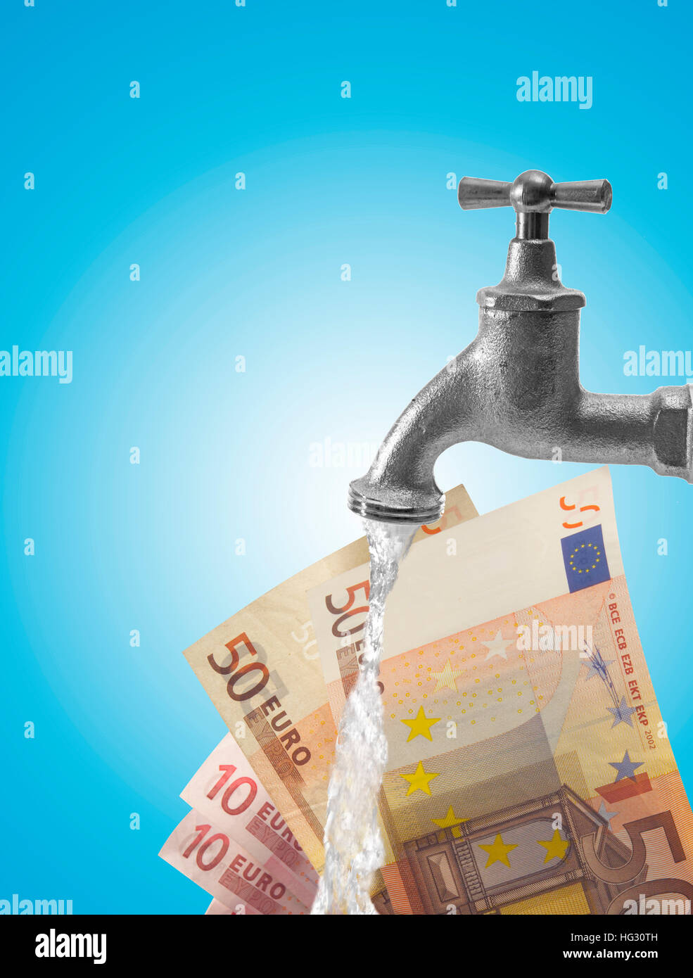 Water Tap Faucet And Euro Bills Composing Shot Symbol For Money