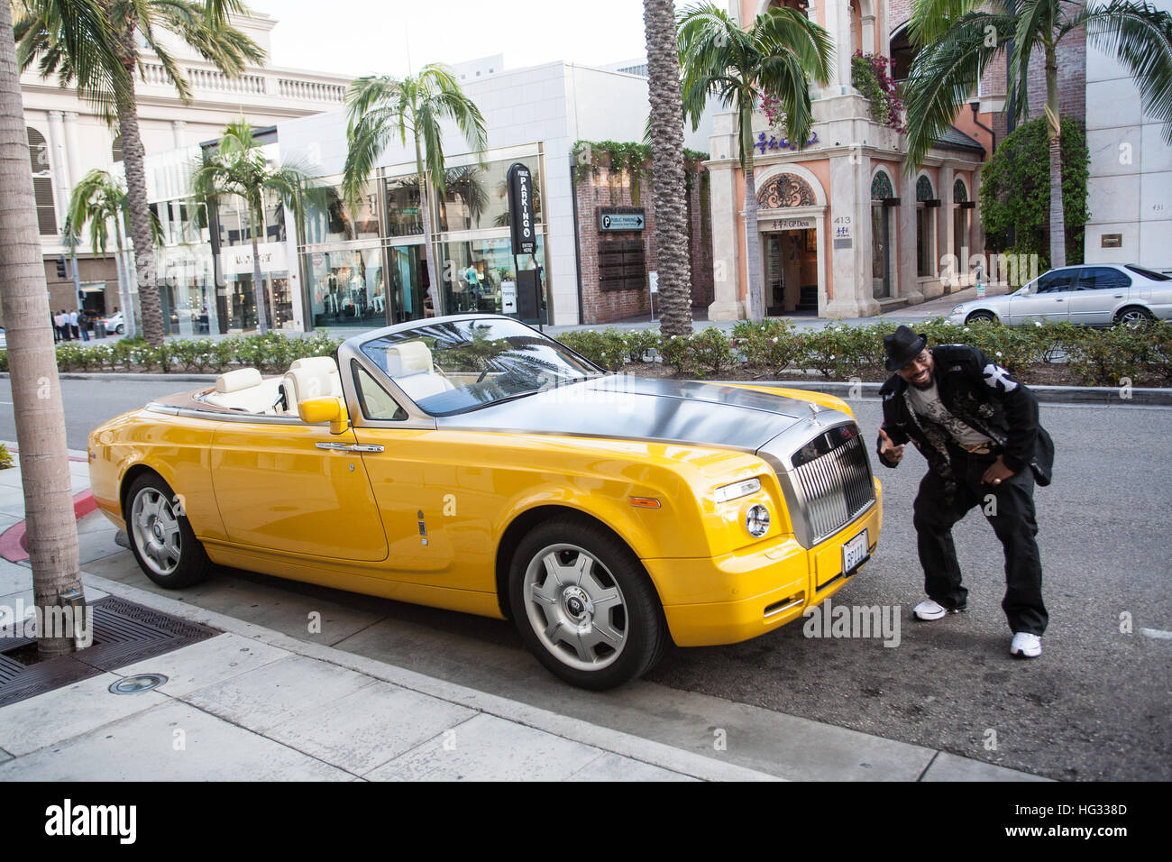 rolls royce car on rodeo drive in beverly hills,los stock photo