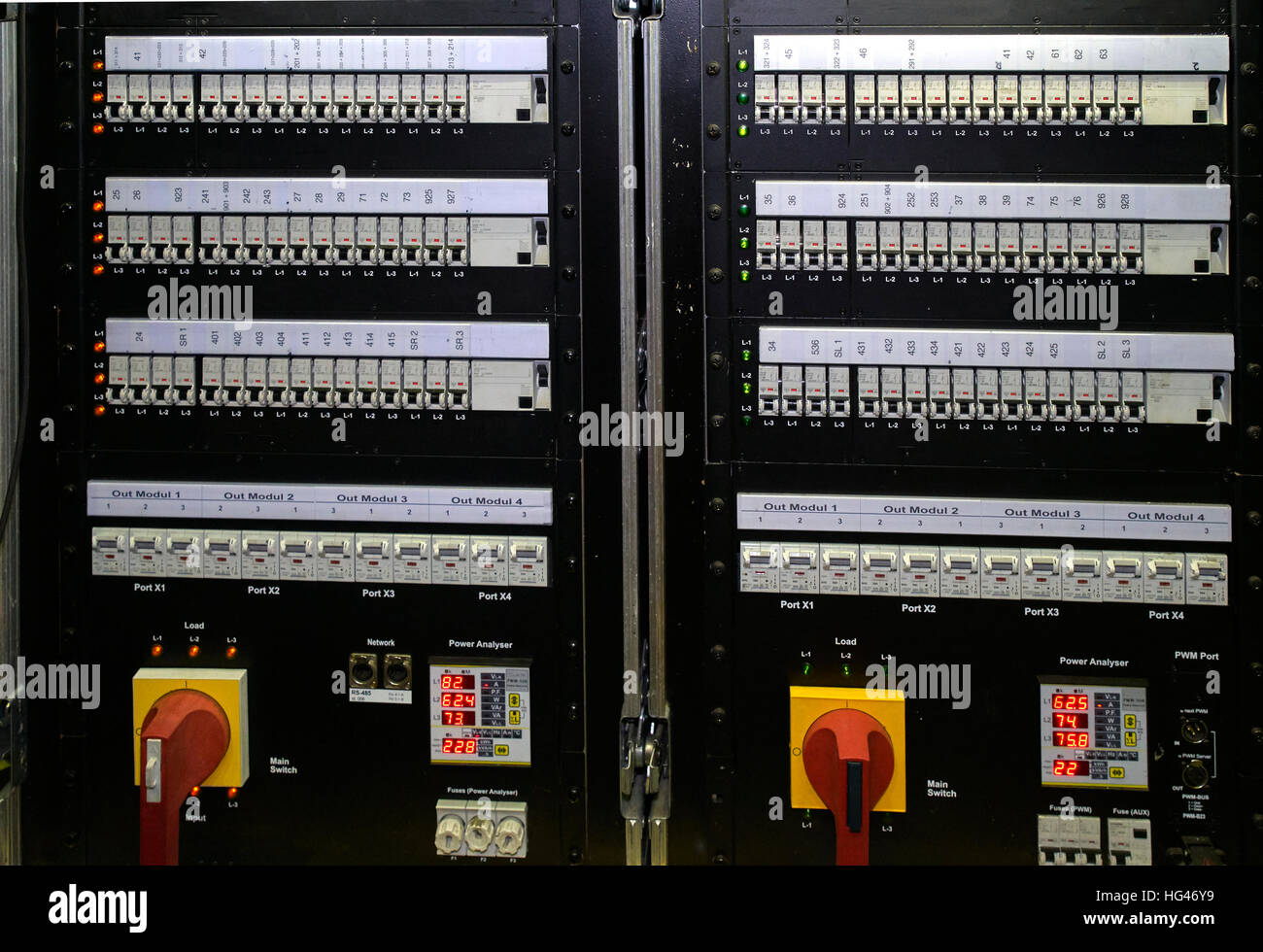 fuse box with switch and lights. - Stock Image