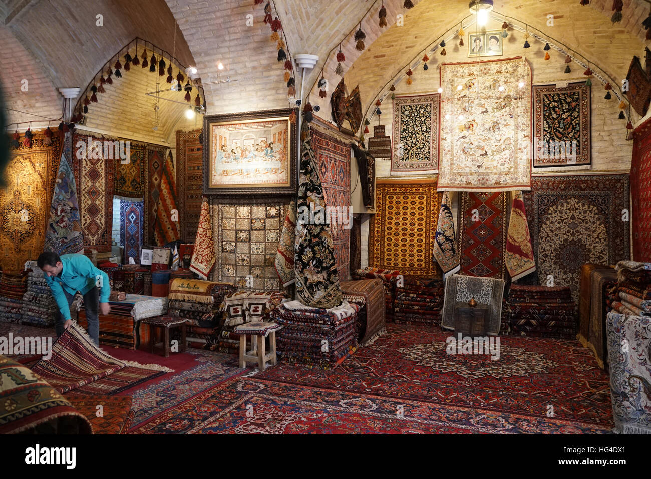 Carpet shop, Grand Bazaar, Isfahan, Iran, Middle East - Stock Image